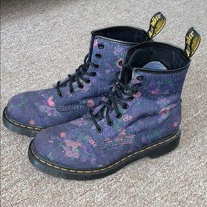 Dr. Martens Castel Denim Floral Boots Size US 7